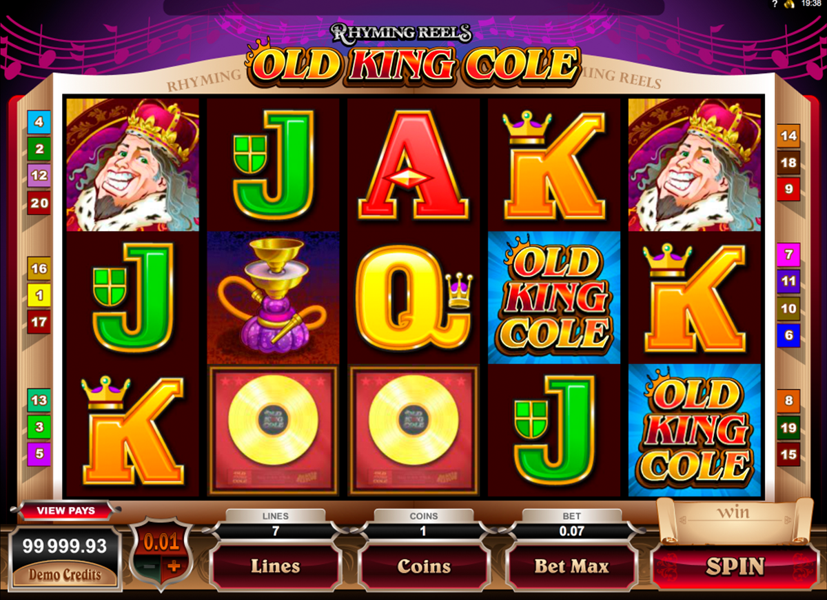 rhyming reels old king cole microgaming