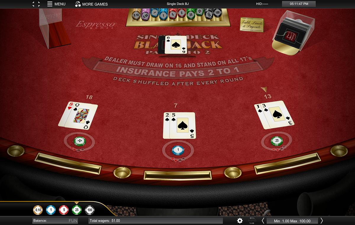 single deck blackjack espresso games